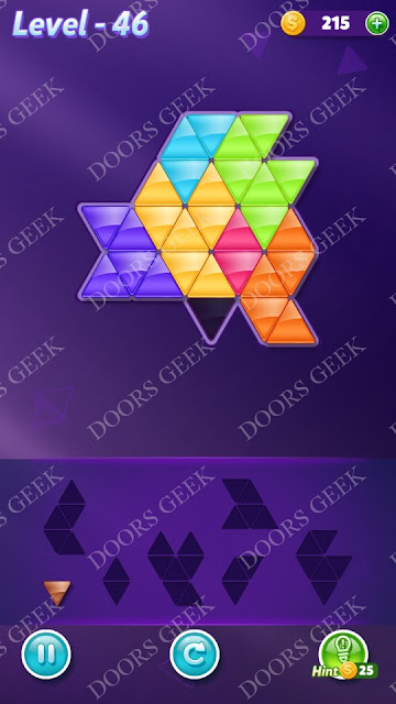 Block! Triangle Puzzle Advanced Level 46 Solution, Cheats, Walkthrough for Android, iPhone, iPad and iPod