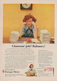 "Vintage advertising, woman at desk, ""Glamour job? Baloney!"""