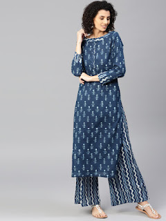 Blue Printed Kurta with Palazzos- Jaipur Kurti Women