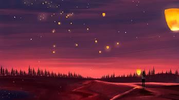 Sky Lantern, Scenery, Illustration, Digital Art, 4K, #4.2039