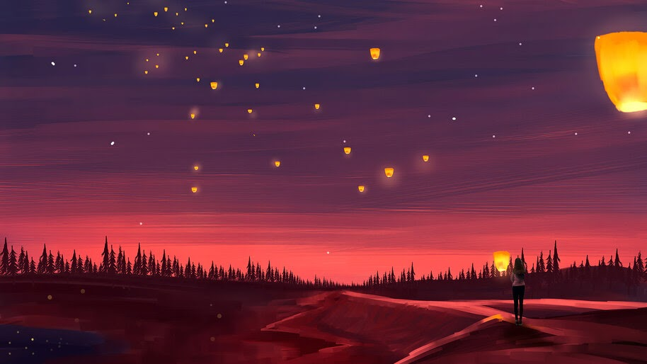 Sky Lantern Scenery Illustration Digital Art 4k Wallpaper 4 2039
