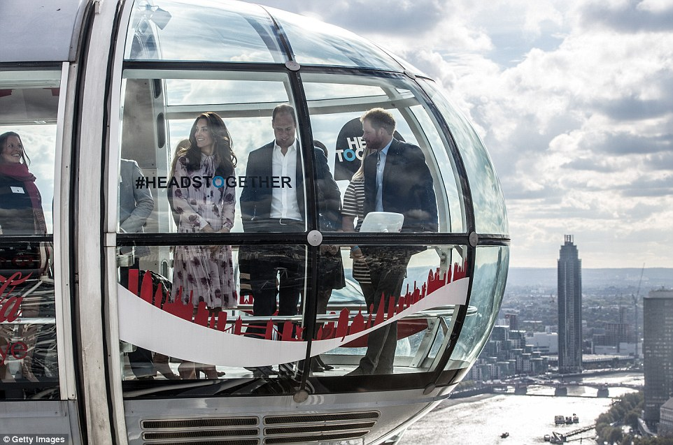 William, Kate and Harry are to take a ride on the London Eye as they mark World Mental Health Day