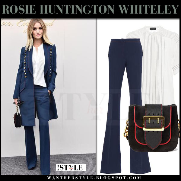 Rosie Huntington-Whiteley in blue gold button coat, white blouse and blue trousers burberry front row lfw what she wore