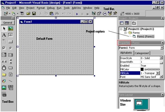 students project: Visual basic language description Front