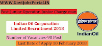 Indian Oil Corporation Limited Recruitment 2018 – 98 Junior Operator, Junior Charge man