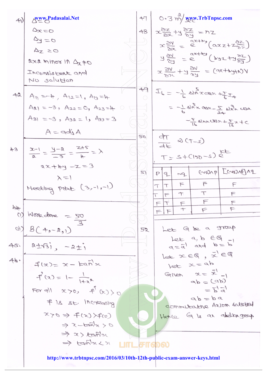 12th Question Papers with Answer Key Download - March 2016 ...