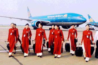 Ao dai, Áo Dài. Azafatas Vietnam Airlines