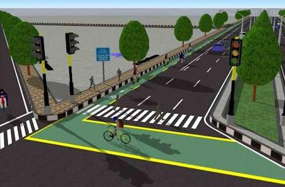 jalur sepeda dan trotoar