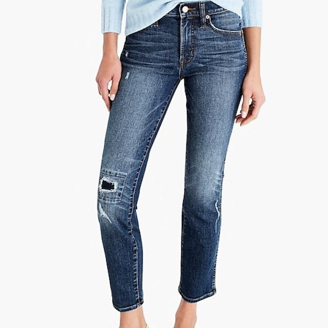 j crew vintage straight jean in rip and repair