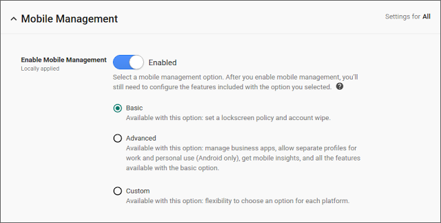 G Suite Updates Blog: Stay secure with default-on mobile management