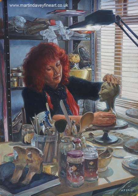 potter work at studios portrait oil painting Davey