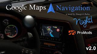 ets 2 google maps navigation night version for promods v2.0