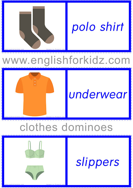 Printable clothes domino game