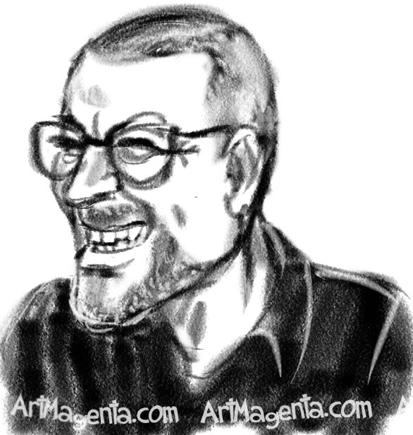 George Michael caricature cartoon. Portrait drawing by caricaturist Artmagenta