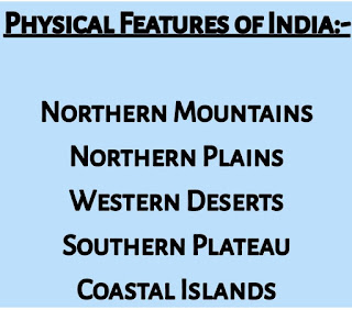 5 types of main physical features of India