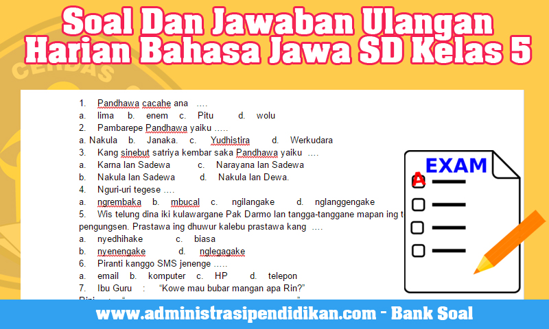 Soal Dan Jawaban Ulangan Harian Bahasa Jawa SD Kelas 5