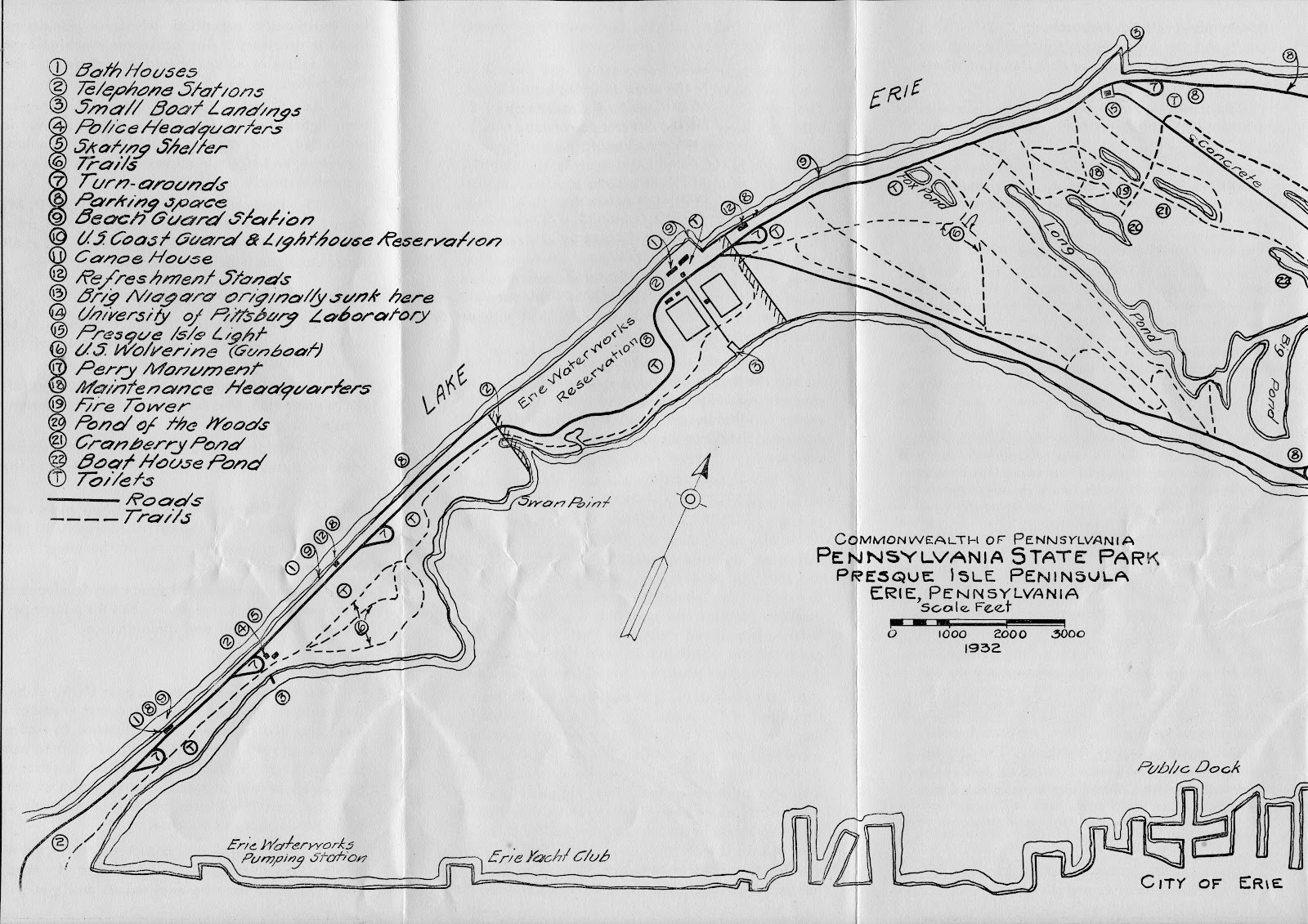 Old Time Erie: Presque Isle Park map 1932