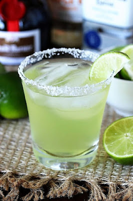 Margarita drink with salted glass