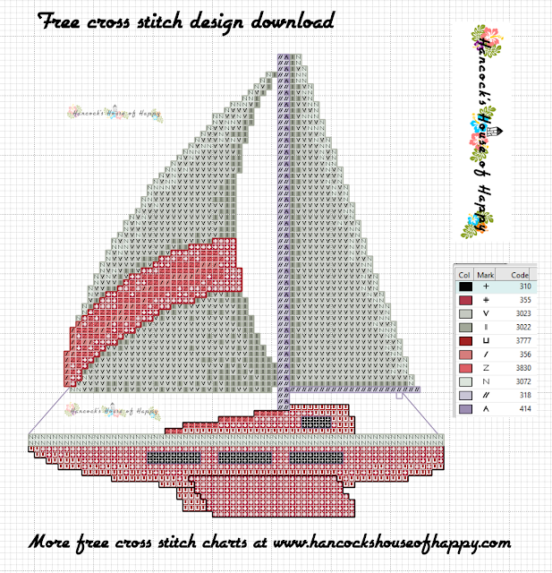 Free Cute Sailboat Cross Stitch Pattern that is Customisable