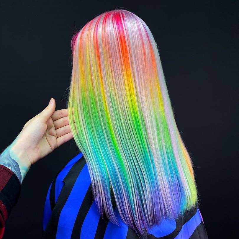 Rainbow-colored hairstyles by Snezhana Vinnichenko