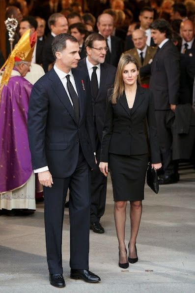 Princess Letizia attended the state funeral ceremony for former Spanish prime minister Adolfo Suarez at the Almudena Cathedral in Madrid