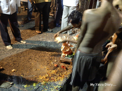 All religious paraphernalia are removed before ganesh immersion