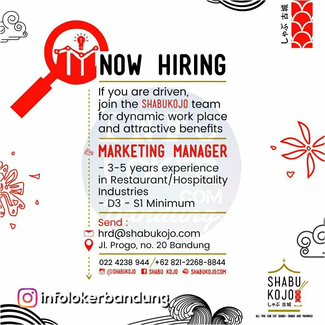 Lowongan Kerja Marketing Manager Shabu Kojo Japanese Restaurant Bandug Februari 2018