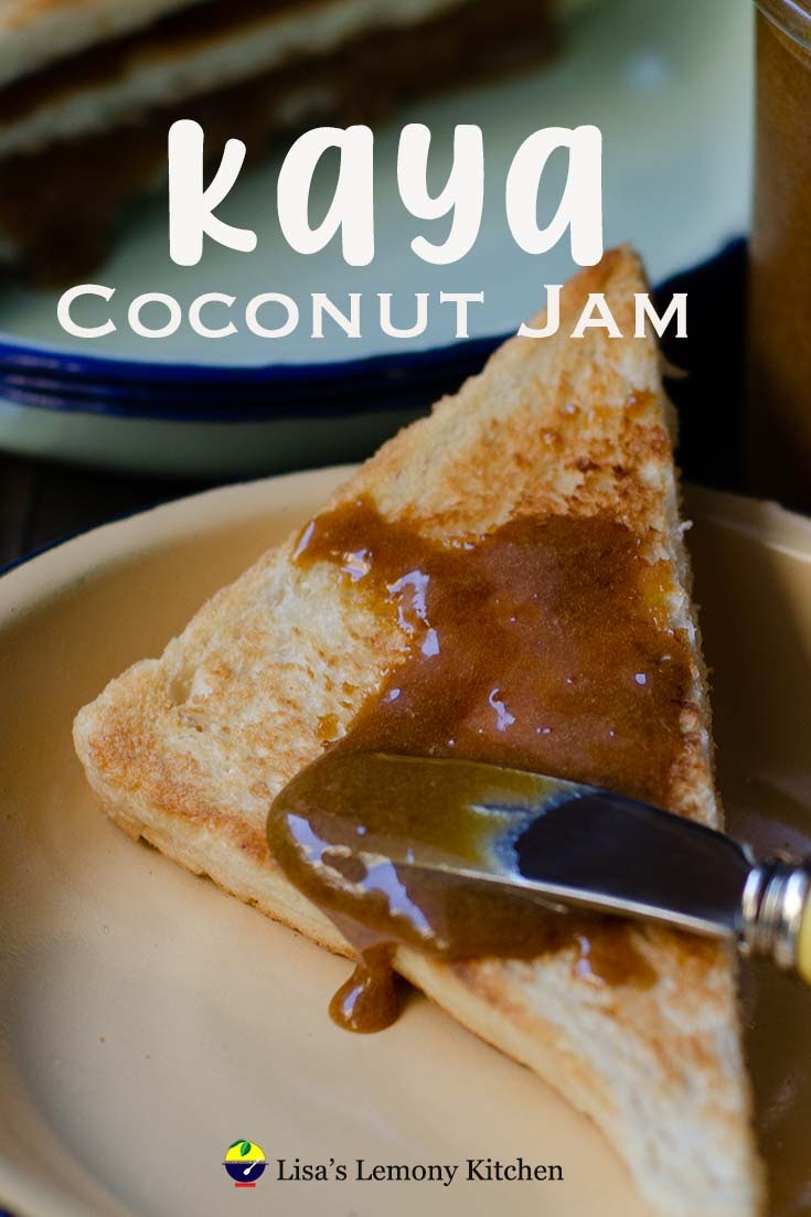Malaysian coconut jam recipe. Kaya or Coconut Curd (jam) ~ a delicious spread made from eggs, coconut cream and sugar. Delicious with toast and morning coffee.