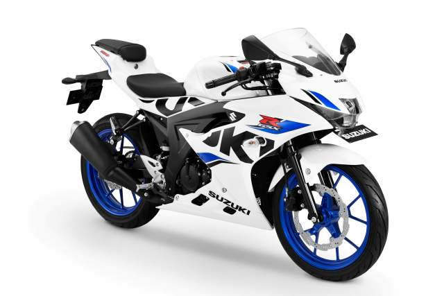 Suzuki GSXR150 Warna Briliant White Velg Vigor Blue