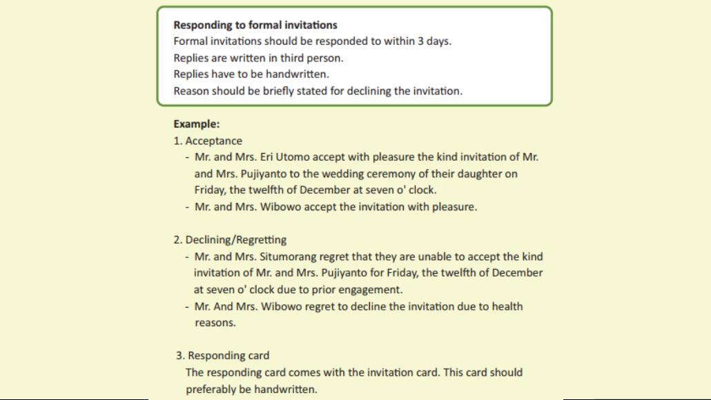 Terjemahan Materi Bahasa Inggris Responding to Formal Invitations Kelas 11