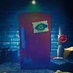 """Do not take your eyes away from the red fridge, ou em uma tradução livre """"Não desvie o seu olhar da geladeira vermelha"""" é um j..."""