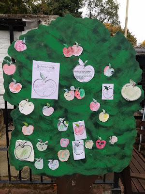 Coloured in apple shapes and apple poems hung on the tree