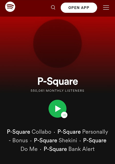 Psquare Monthly Stream On Spotify, As Of Date.