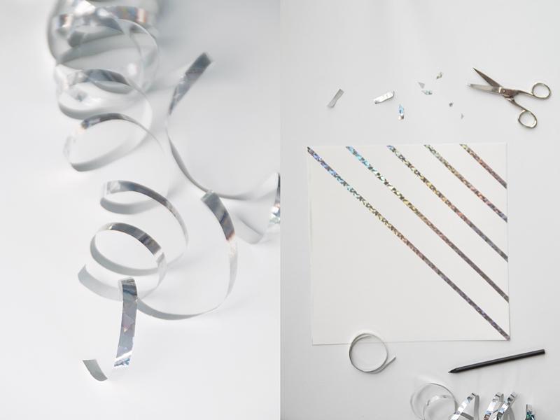 Einfache geometrische günstige DIY-Kunst Upcycling aus silbernen Metallic-Luftschlangen. Tasteboykott Blog.