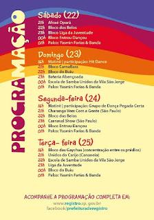 Programação Oficial do Carnaval de Rua de Registro-SP