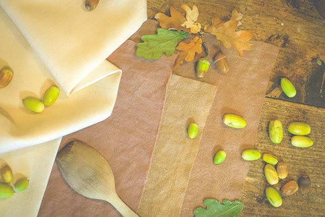 plant dye fabrics akorns and akorns on a table