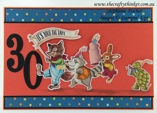 #thecraftythinker  #stampinup  #cardmaking  #retrocard  #30thcard , Birthday Delivery, 30th Birthday Card, Retro Card, Stampin' Up! Australia Demonstrator, Stephanie Fischer, Sydney NSW