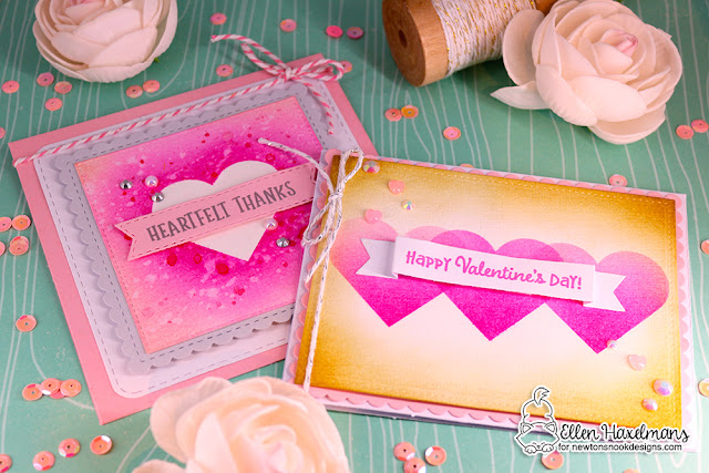 Heart Card Duo by Ellen Haxelmans | Slimline Masking Hearts Stencil Set, Banner Trio Die Set, and Frames Squared Die Set by Newton's Nook Designs