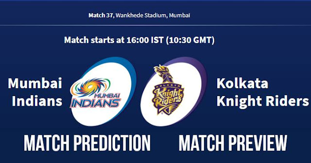 IPL 2018 Match 37 MI vs KKR Match Prediction, Preview and Head to Head Who Will Win