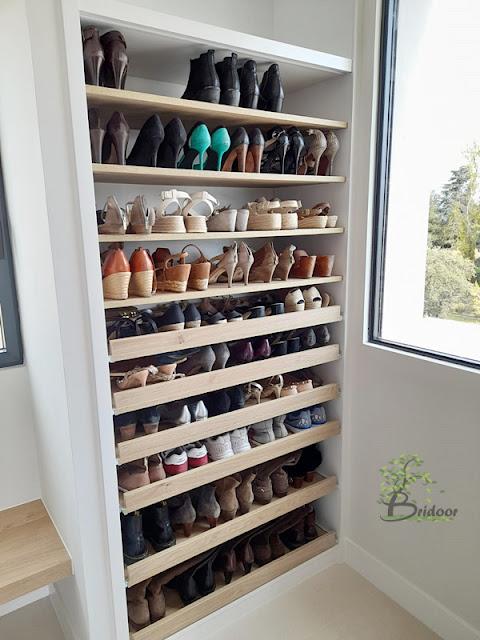 zapatero madera natural y laca
