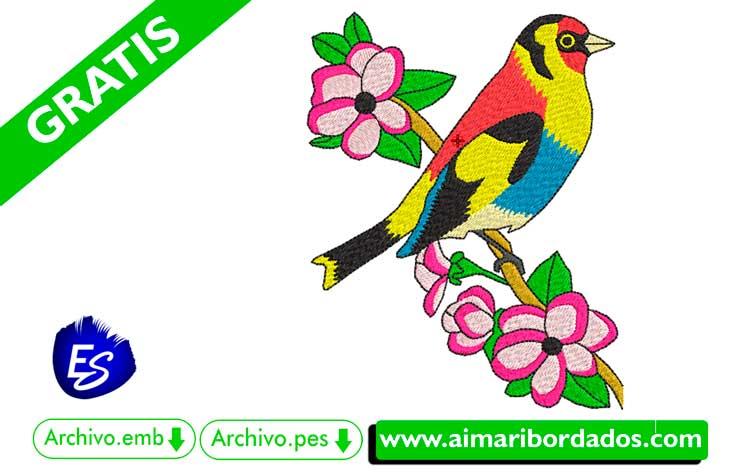 Pájaro en una rama para bordar a máquina DESCARGA bordado GRATIS