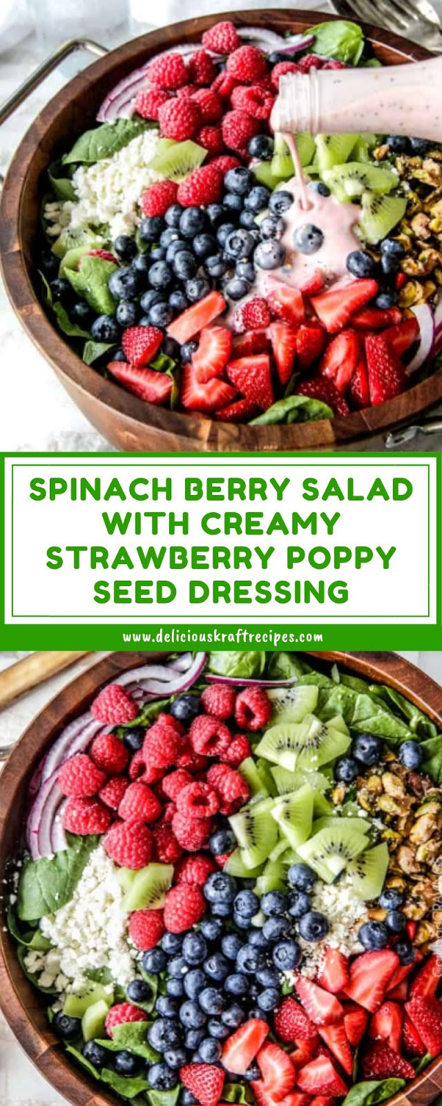 SPINACH BERRY SALAD WITH CREAMY STRAWBERRY POPPY SEED DRESSING
