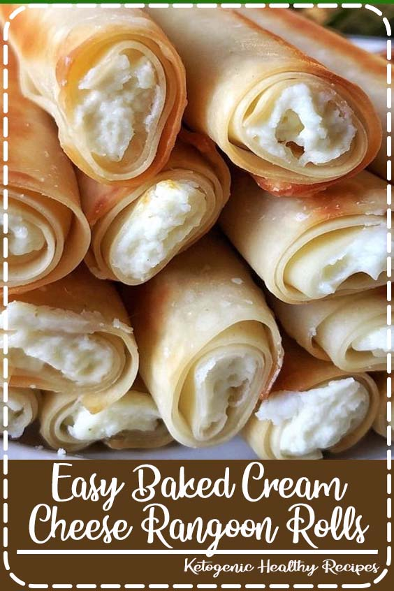 This fun and easy recipe is made with egg roll wrappers and cream cheese Easy Baked Cream Cheese Rangoon Rolls