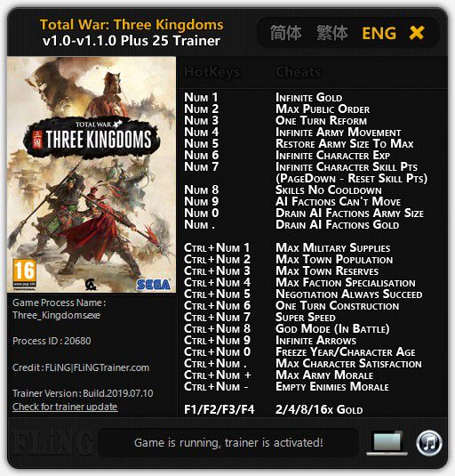 Cheat Trainer Total War: Three Kingdoms