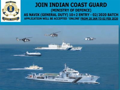 "Join Indian Coast Guard has given current employment news for the recruitment of official website www.joinindiancoastguard.gov.in notification of the posts ""Navik (General Duty) 10+2 Entry-02/2020 Batch"" in recent the latest vacancies 2020"