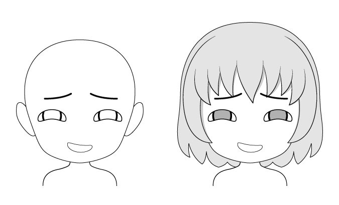 Mengambang ekspresi wajah anime chibi
