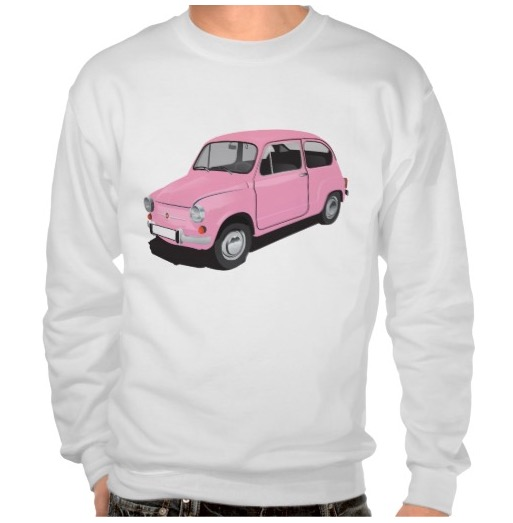 Cute pink Fiat 600 automobile t-shirt