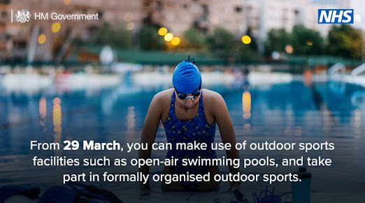 from 29th March England UK Gov Outdoor exercise, including swimming pools can reopen Photo of swimmer by pool in costume