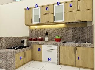 desain Kitchen Set Multiplek HPL Laminate Corak Kayu
