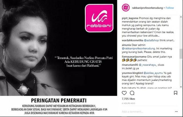 Viral Karena Keputusannya Untuk Melepas Hijab, Toko Busana Muslim Rabbani Gratiskan Jilbabnya Untuk Rina Nose
